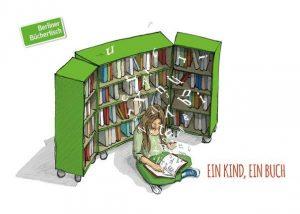Zeichnung eines Mädchens, dass vor einem Bücherregal liest