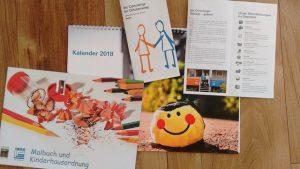 Jahreskalender, Malbuch und Infoflyer
