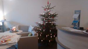 Eingangsraum mit Sofaecke und Weihnachtsbaum
