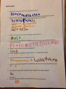 Quizbogen mit Fragen zu Kinderliteratur