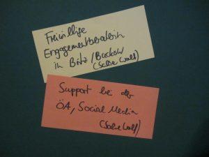 Moderationskarten mit zwei Vorschlägen: Freiwillige Engagementberaterin in Britz und Buckow sowie Support der Öffentlichkeitsarbeit und Social Media